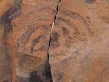 Hällristningpetroglyphen på rött vaggar yttersida på den n-`-Dhala klyftan Royaltyfria Foton