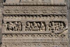 Hällristningtexturbakgrund av Ellora Caves i Aurangabad, Indien En UNESCOvärldsarv i maharashtraen, Indien Fotografering för Bildbyråer