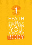 Hälsa är ett förhållande mellan dig och din kropp Inspirerande idérik motivationcitationsteckenmall Vektortypografi stock illustrationer
