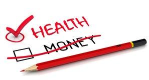 Hälsa är viktigare än pengar royaltyfri illustrationer