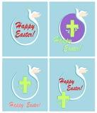Hälsa abstrakta easter kort med för pappersflyg för snitt ut duvan, korset, äggform, den olivgröna filialen och regnbågen Plan de Royaltyfri Foto