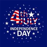 Hälsa av 4th juli den amerikanska självständighetsdagen stock illustrationer