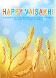 Hälsa bakgrund med vetefältet för Punjabitacksägelsefesten Vaisakhi Baisakhi också vektor för coreldrawillustration vektor illustrationer