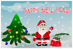 Hälsa berömkortet för nytt år Arkivfoto