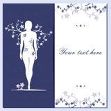 Hälsa det blom- kortet med flickakonturblått Arkivbild