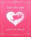 Hälsa det rosa kortet med hjärtaform med kupidonet för bröllopinbjudan vektor illustrationer