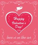 Hälsa det rosa kortet med röd hjärtaform med den pappers- klippkupidonet för den Valentine's dagen royaltyfri illustrationer