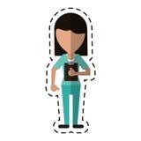 Hälsa för skrivplatta för medicinsk personal för tecknad film kvinnlig Royaltyfri Bild