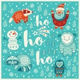 Hälsa ferie card med snömannen, tvättbjörnen, santa och bäverskinnet stock illustrationer