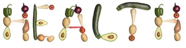 hälsa gjorde ut grönsakord stock illustrationer