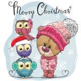 Hälsa julkortet gulliga Teddy Bear och tre ugglor royaltyfri illustrationer