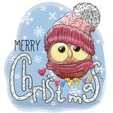 Hälsa julkortet med tecknad filmugglan vektor illustrationer