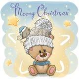 Hälsa julkortet med tecknade filmen Teddy Bear stock illustrationer
