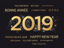 2019 hälsa kort - lyckligt nytt år stock illustrationer