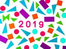 2019 hälsa kort Memphis geometrisk ljus stil för lyckligt nytt år eller glad jul Feriebakgrund, baner, affisch vits arkivbild