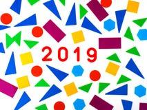 2019 hälsa kort Memphis geometrisk ljus stil för lyckligt nytt år eller glad jul Feriebakgrund, baner, affisch vits royaltyfri fotografi