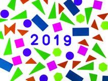 2019 hälsa kort Memphis geometrisk ljus stil för lyckligt nytt år eller glad jul Feriebakgrund, baner, affisch vits royaltyfri foto