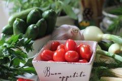 hälsa mat, gräsplan, grönsaker, strikt vegetarian, gurka, lök, gräslökar, vitlök, lökuppsättning, örter, dill, överkant, persilja Arkivbild