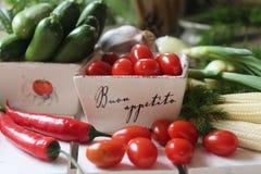 hälsa mat, gräsplan, grönsaker, strikt vegetarian, gurka, lök, gräslökar, vitlök, lökuppsättning, örter, dill, överkant, persilja Royaltyfria Foton