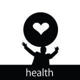 Hälsa med man- och hjärtakonturn Royaltyfri Foto