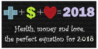 Hälsa, pengar och förälskelse, den perfekta likställanden för 2018 Fotografering för Bildbyråer