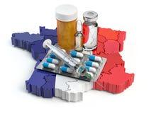 Hälsa, sjukvård, medicin och apotek i det Frankrike begreppet Pil vektor illustrationer