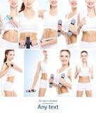 Hälsa sporten, kondition, näring, viktförlust, bantar, celluliteborttagning, liposuctionen, sunda liWomen i baddräkter royaltyfri bild
