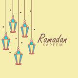 Hälsning- eller inbjudankort med lyktor för Ramadan Kareem Arkivfoton