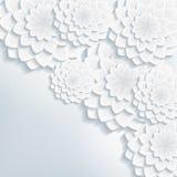 Hälsning- eller inbjudankortet med 3d blommar vektorn Royaltyfria Bilder