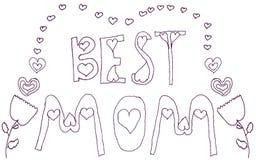 Hälsning för bästa mamma för klotter rosa blom- Arkivfoton