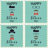 Hälsning för dag för fader` s kort som greeting seten Vektorillustrationer Royaltyfria Bilder