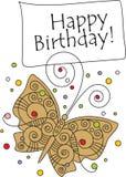 hälsning för födelsedagfjärilskort Arkivbild