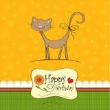 hälsning för födelsedagkortkatt royaltyfri illustrationer