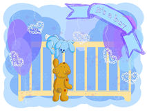 hälsning för födelsepojkekort Arkivfoto