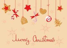 Hälsning för glad jul med svett: klubbor ljust rödbrun kaka, godisrotting royaltyfri illustrationer