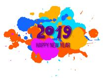 Hälsning för nytt år 2019 med färgrika målarfärgfärgstänk royaltyfri illustrationer