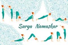 Hälsning för sol för Surya Namaskar yoga komplex Royaltyfria Foton