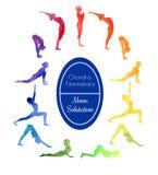 Hälsning för yogaövningsmåne Arkivbilder