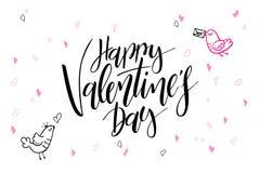 Hälsningar för dag för ` s för valentin för vektorhandbokstäver smsar - den lyckliga dagen för valentin` s - med hjärtaformer och Royaltyfria Foton