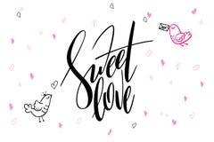 Hälsningar för dag för ` s för valentin för vektorhandbokstäver smsar - söt förälskelse - med hjärtaformer och fåglar Fotografering för Bildbyråer