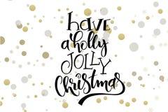 Hälsningar för jul för vektorhandbokstäver smsar - ha glad jul för en järnek - med ellipser i guld- färg stock illustrationer