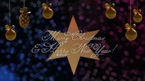 Hälsningar för jul och för nytt år på stjärnan med den blåa och purpurfärgade bokehen på bakgrund royaltyfri illustrationer