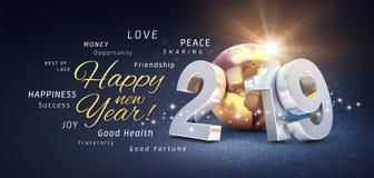 Hälsningar för lyckligt nytt år, gratulationer och nummer för datum som 2019 komponeras med planetjord som färgas i guld, på en f stock illustrationer