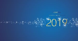 Hälsningar för nytt år som 2019 laddar den guld- vita blåa färgvektorn för fyrverkeri royaltyfri illustrationer
