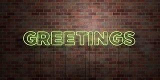 HÄLSNINGAR - fluorescerande tecken för neonrör på murverk - främre sikt - 3D framförd fri materielbild för royalty royaltyfri illustrationer