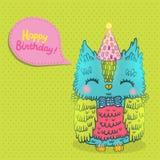 Hälsningbakgrund för lycklig födelsedag med en uggla Arkivfoto