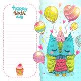 Hälsningbakgrund för lycklig födelsedag med en uggla royaltyfri illustrationer