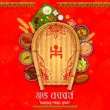 Hälsningbakgrund med Bengali text Subho Nababarsho som betyder lyckligt nytt år vektor illustrationer