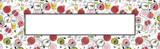 Hälsningbaner med symboler av judisk ferie Rosh Hashana, nytt år med den vita ramen för stället för din text vektor vektor illustrationer