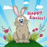 Hälsningeaster kort med kaninen Fotografering för Bildbyråer